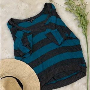 One clothing turquoise/grey striped knit top m